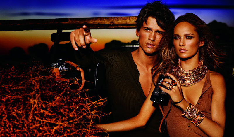 Karmen Pedaru and Simon Nessman pose in nature setting in Michael Kors' Spring 2012 campaign.