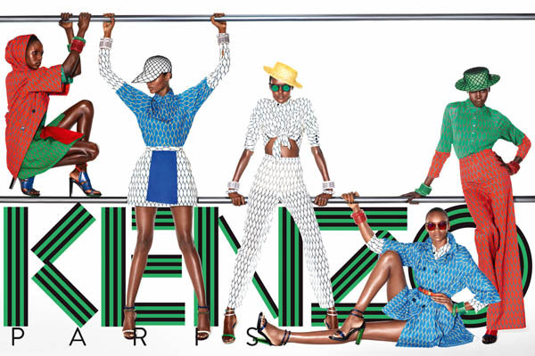 Ajak Deng, Alek Wek and Nairoby Matos wear bright colors and patterns for Kenzo's Spring ad.