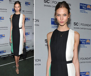Karlie Kloss Black White Green Dress