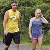 Naomi Watts and Liev Schreiber Jogging in Rain Pictures