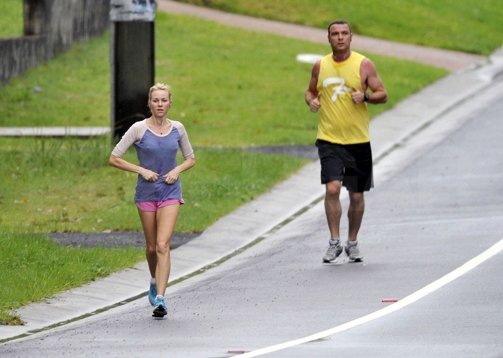 Liev Schreiber and Naomi Watts exercised together.