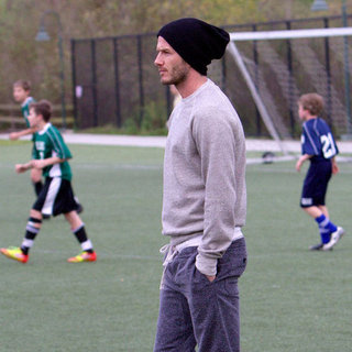 David Beckham Pictures at Son's Soccer Practice