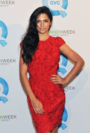 Camila Alves in a red dress.
