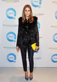 Olivia Palermo in Tibi pants at a QVC event.