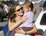 Jennifer Garner carried Seraphina on her hip through an LA parking lot.