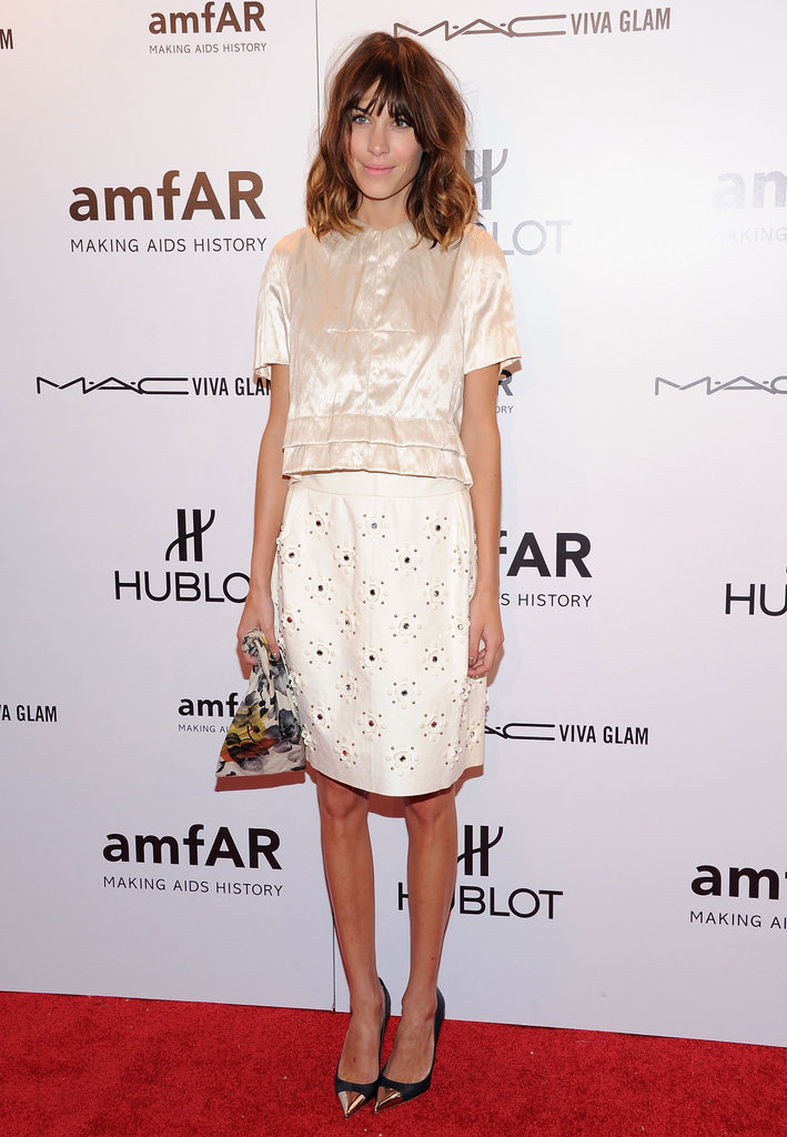 Alexa Chung attended the 2012 amfAR gala in NYC.