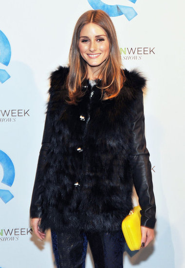 Olivia Palermo with a yellow clutch at QVC's runway show.
