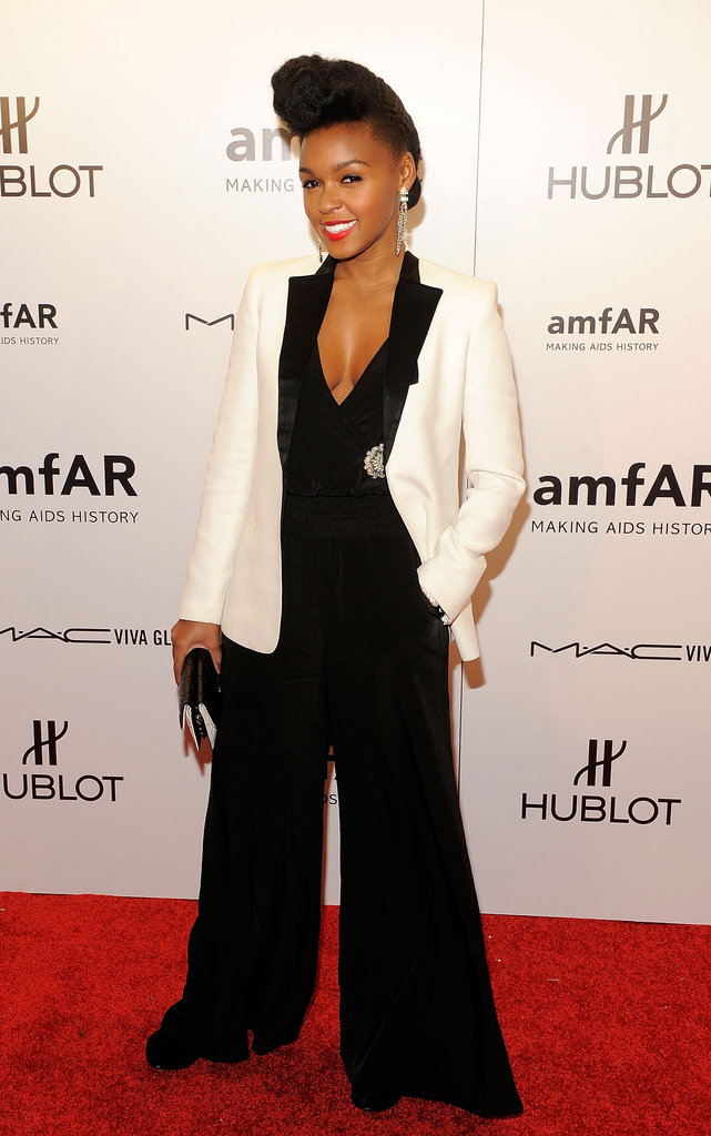 Janelle Monáe paired a black-and-white tuxedo blazer with a wide-leg jumpsuit.