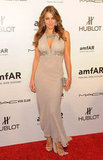 Elizabeth Hurley went glam in a creamy chiffon gown, adorned with embellishments at the bust and neckline.