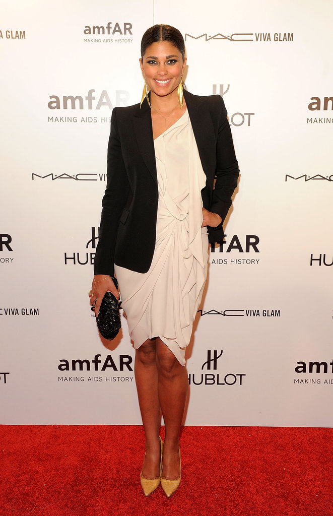 Rachel Roy opted for cocktail-glamour in an asymmetric sheath and a blazer.