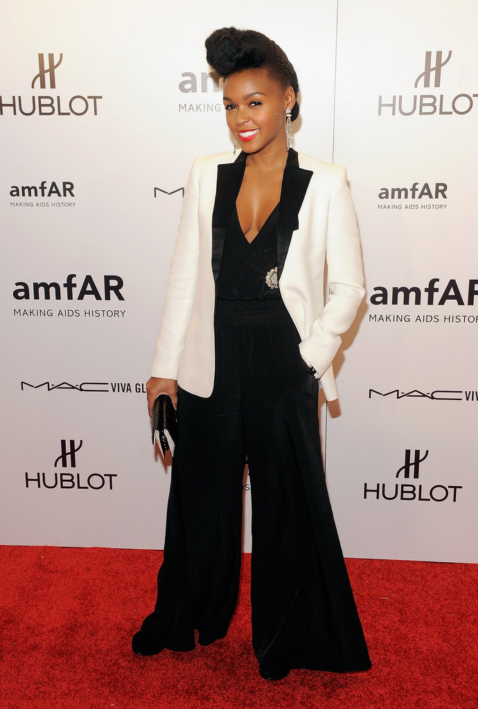 Janelle Monáe also took the menswear route in a white tuxedo jacket and a black jumpsuit.