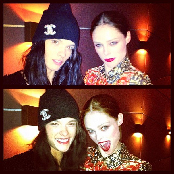Coco Rocha and Crystal Renn strike playful poses.