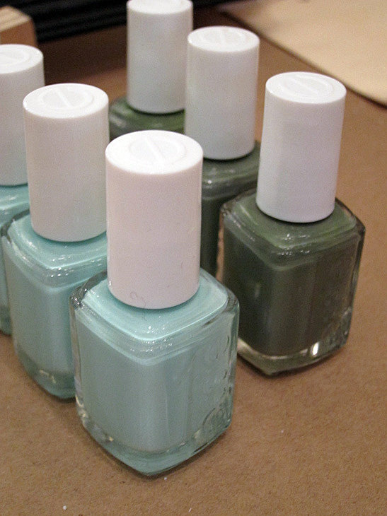 """""""This manicure is universally flattering,"""" Essie Weingarten said of the custom-painted green hue. """"It's very zen and relaxing."""" To create the look, she layered one coat of Mint Candy Apple (left) over two coats of Sew Psyched (at right)."""