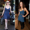 Kirsten Dunst and Zoe Kravitz in Navy Polka-Dot Dress