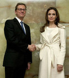 Angelina Jolie Wears White For an Important Tea in Germany