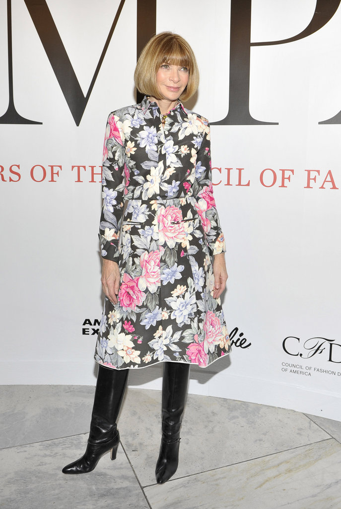 Anna Wintour in a floral dress.