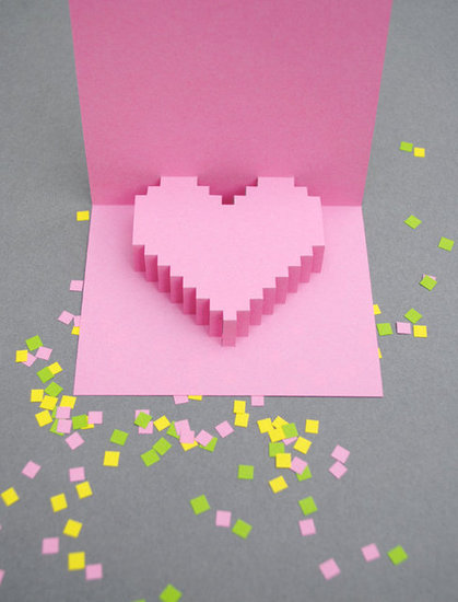 Create unconventional invites with pixilated heart cards.