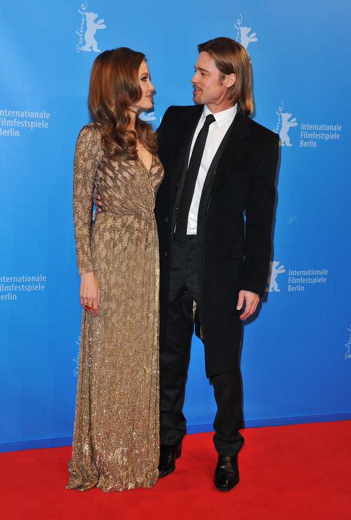 Angelina Jolie Glows in Gold Next to Brad Pitt at the Berlin Film Festival
