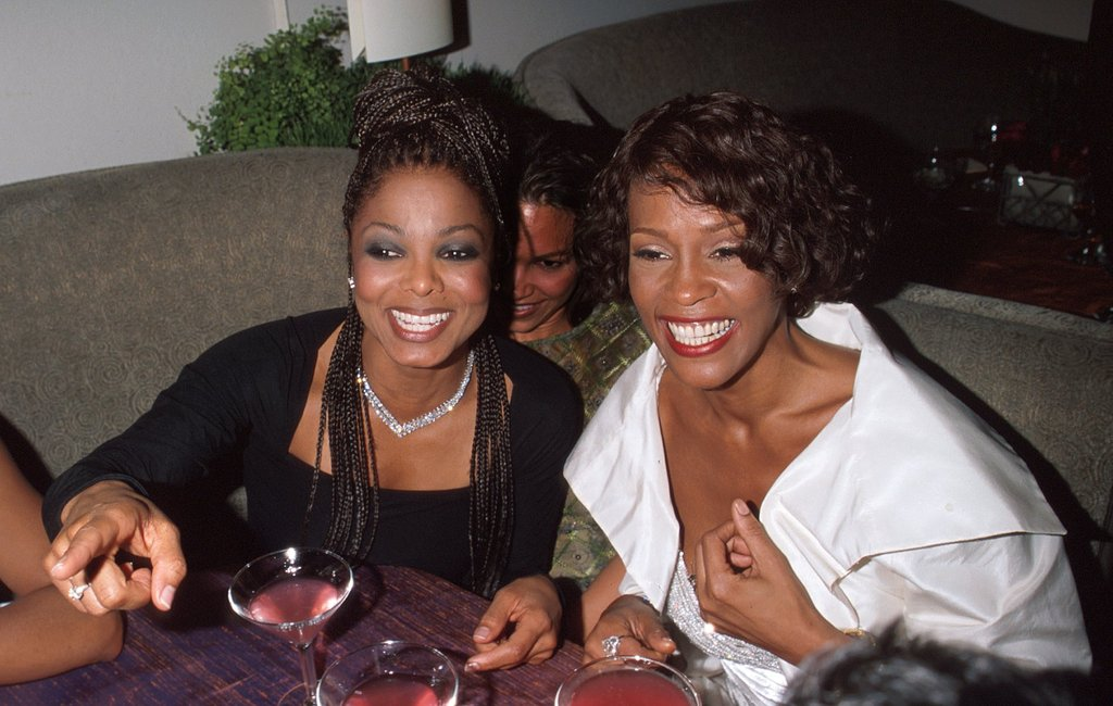 Janet Jackson and Whitney Houston at Elton John's Academy Awards party in LA in 1999.