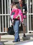 Jennifer Garner carried Seraphina in one arm and her Celine tote in the other.