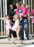 Jennifer Garner, Violet, and Seraphina wore pops of pink.