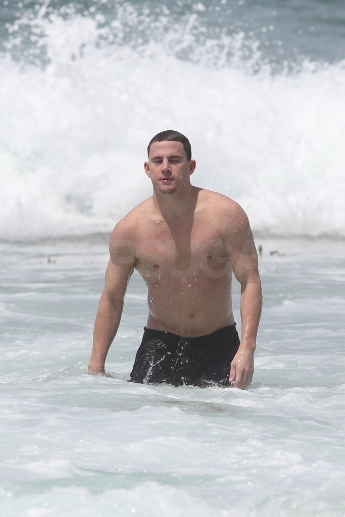 Shirtless Channing took a dip in the ocean off the coast of Australia.