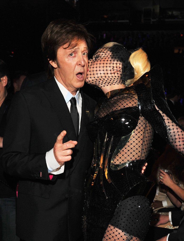 Lady Gaga couldn't resist giving Paul McCartney a kiss.