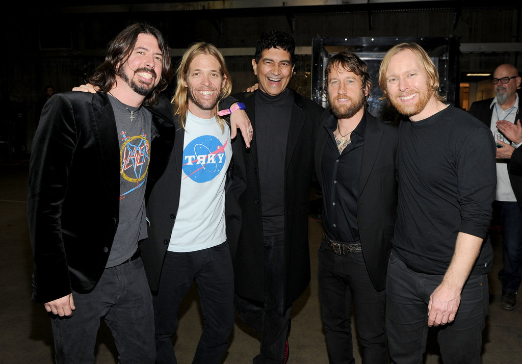 The guys of the Foo Fighters, Dave Grohl, Taylor Hawkins, Pat Smear, Chris Shiflett, and Nate Mendel, celebrated their five wins.