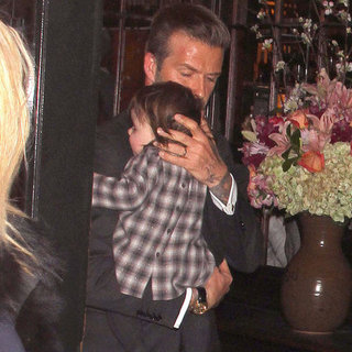 David and Victoria Beckham Pictures at Balthazar With Harper