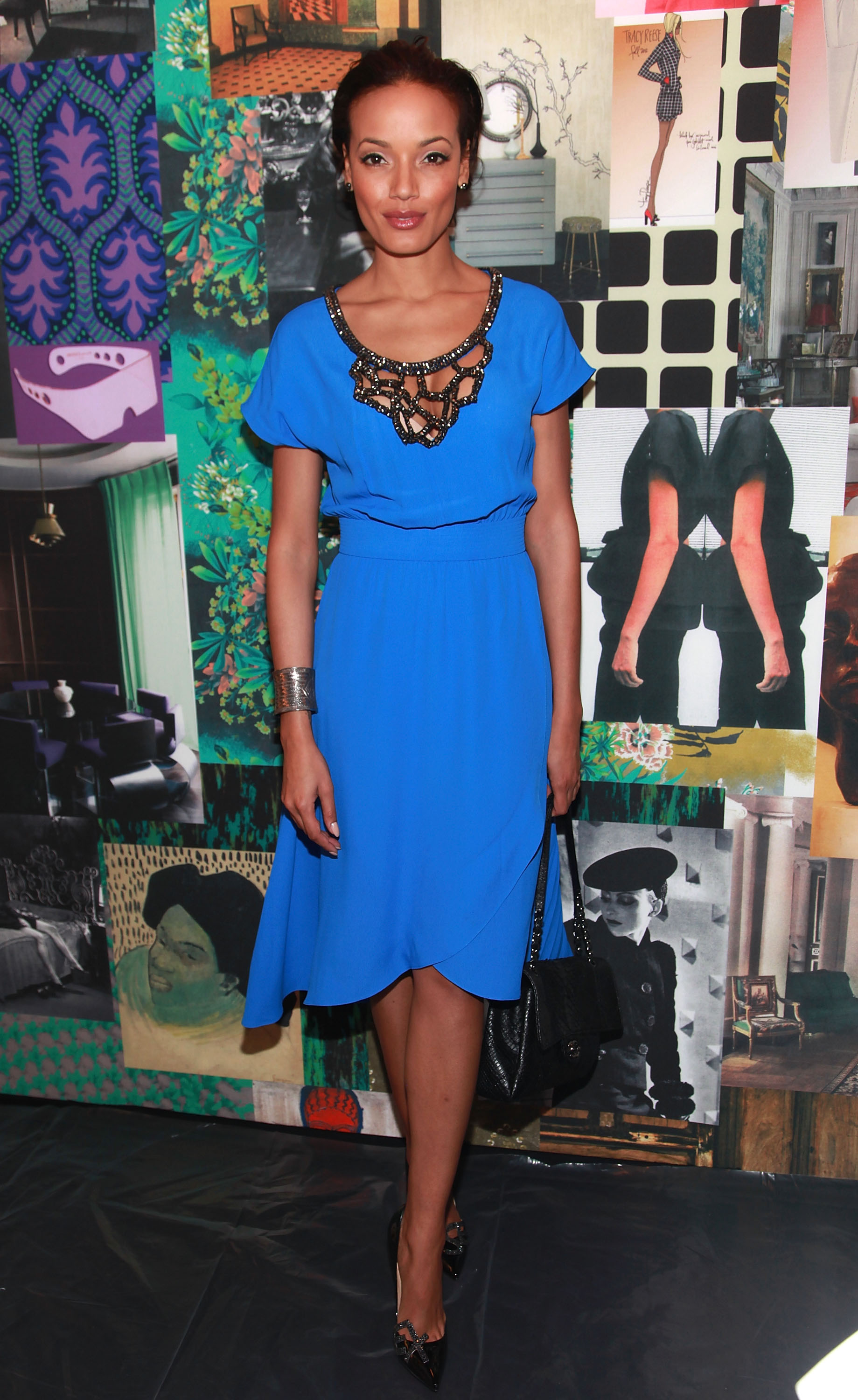 Selita Ebanks wore a stunning cobalt Tracy Reese dress to the designer's celebrity-packed runway show.