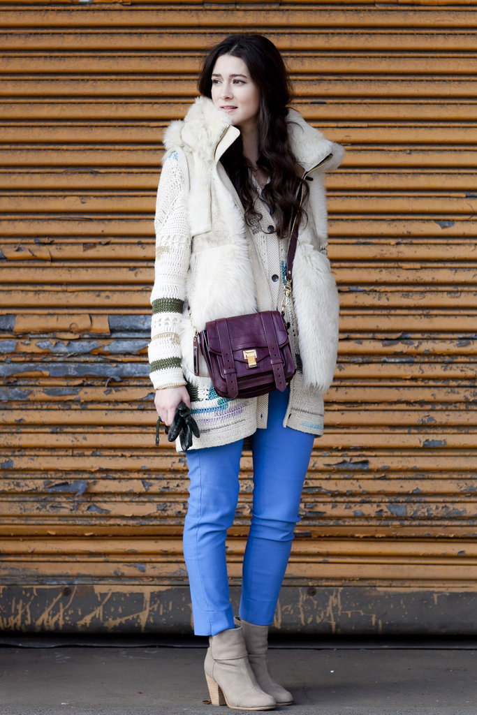 These bright blues give her Winter knits and neutral booties a whole lot of pep.