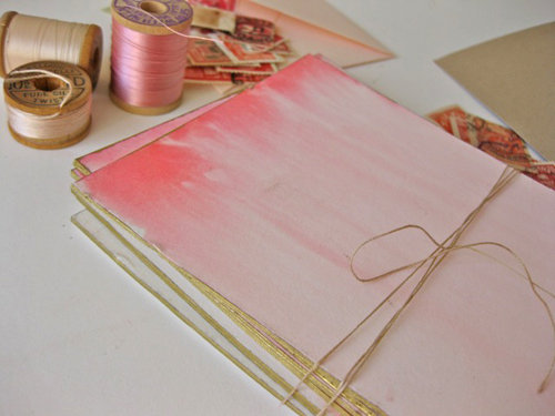 Choose ombre pink for a DIY Valentine's Day card for a friend or sweetheart.