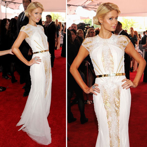 Pictures of Paris Hilton in Basil Soda Dress on the Red Carpet at the 2012 Grammy Awards: Rate it or hate it?