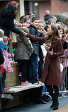 Kate Middleton greeted people in Liverpool.