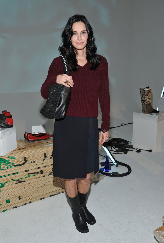 Courtney Cox popped up at Fashion Week at the Newbark presentation.