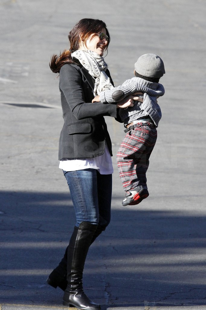 Sandra Bullock happily played with her son Louis while running errands in LA.