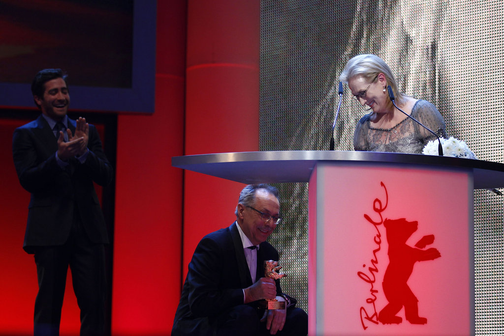 One presenter knelt down to The Iron Lady, Meryl Streep.