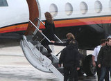Angelina Jolie and Brad Pitt boarded a private jet.