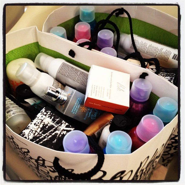 A stylist's tool kit: Bumble and bumble products at the BCBG test.