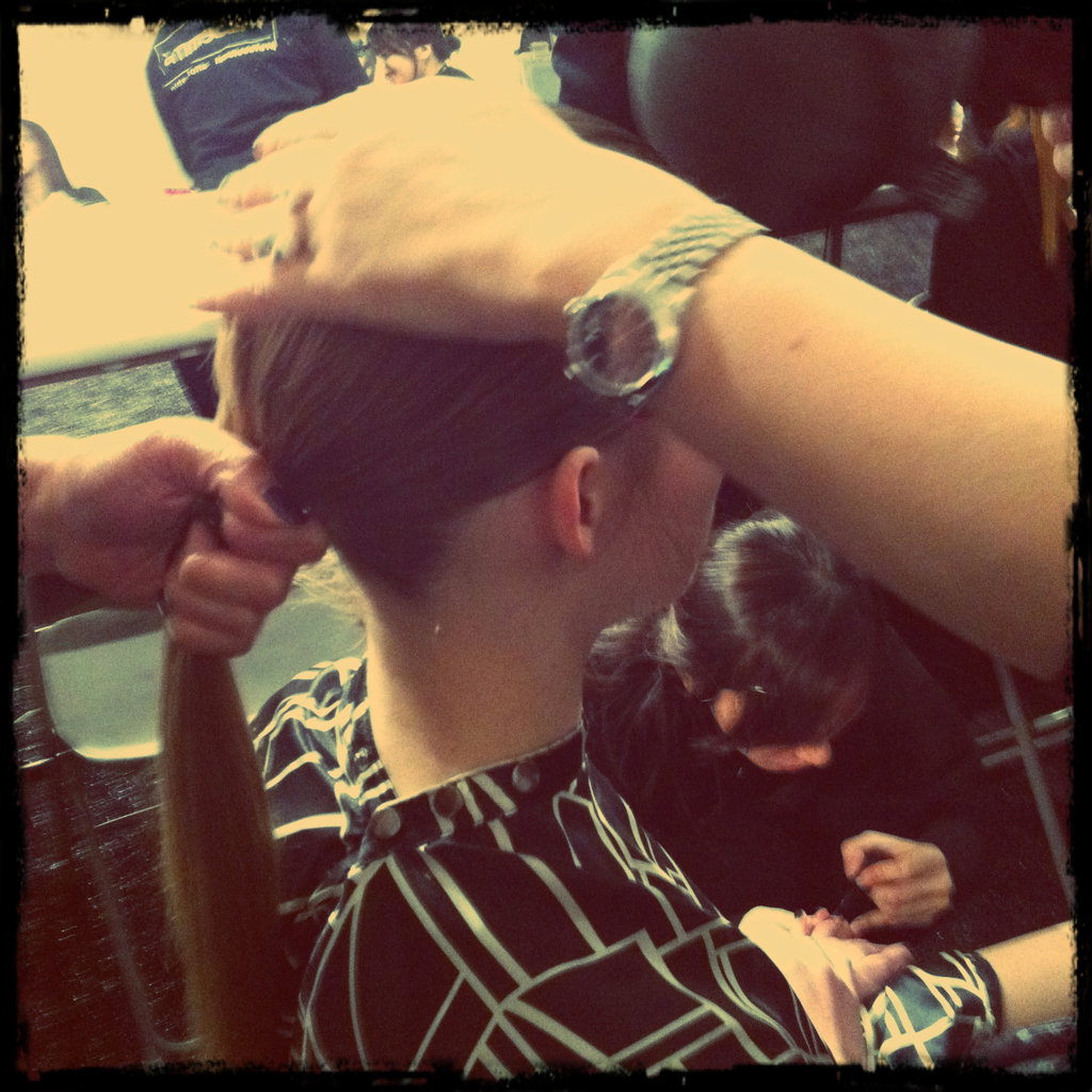 A sleek ponytail at Charlotte Ronson.