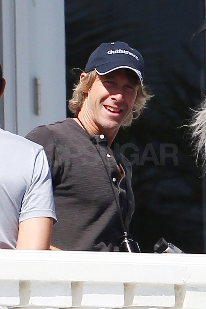 Michael Bay took a break to chat with the crew.