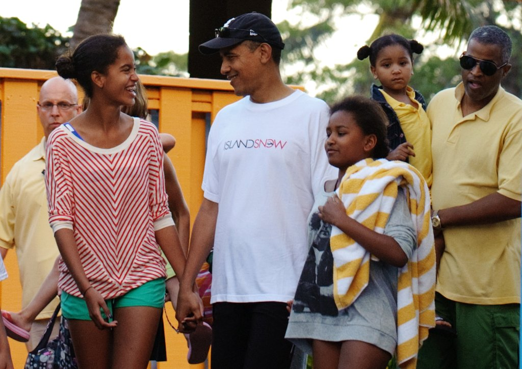 President Barack Obama With Malia and Sasha, 2011