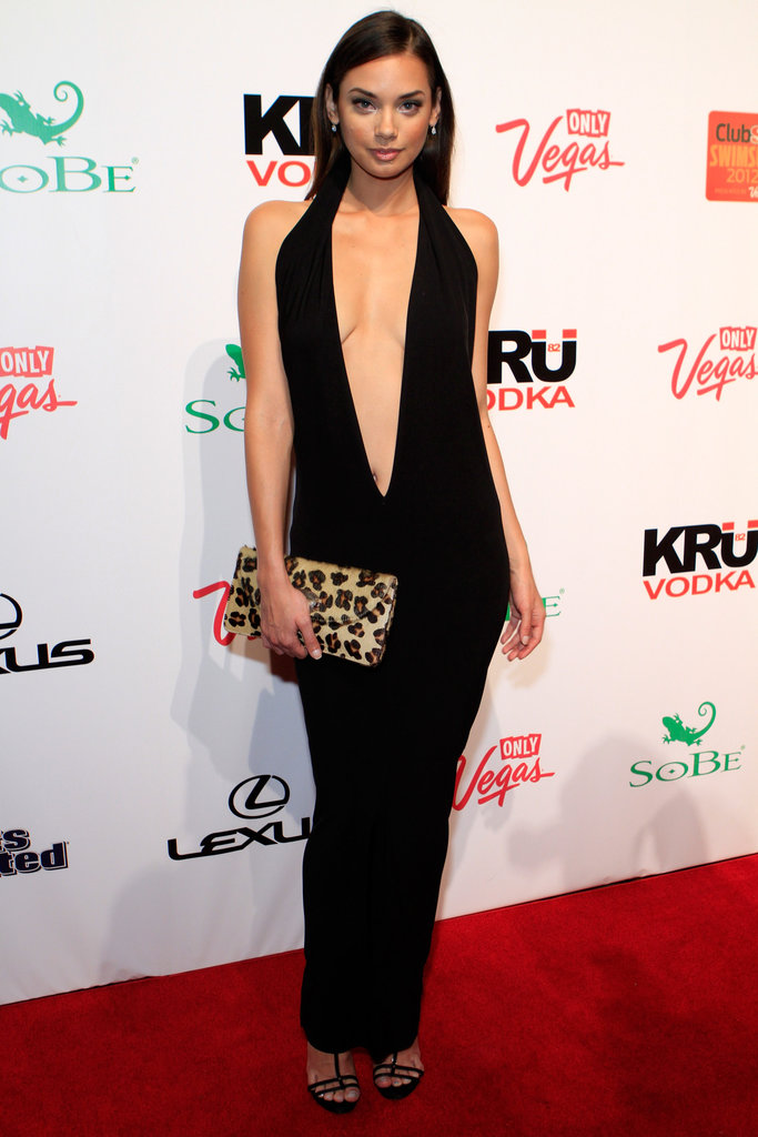 Michelle Vawer wore a sexy v gown.
