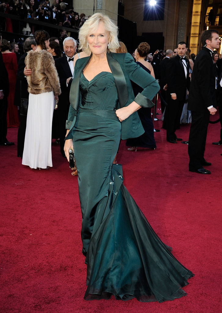 Glenn Close wore a dark green Zac Posen gown to the 2012 Oscars.