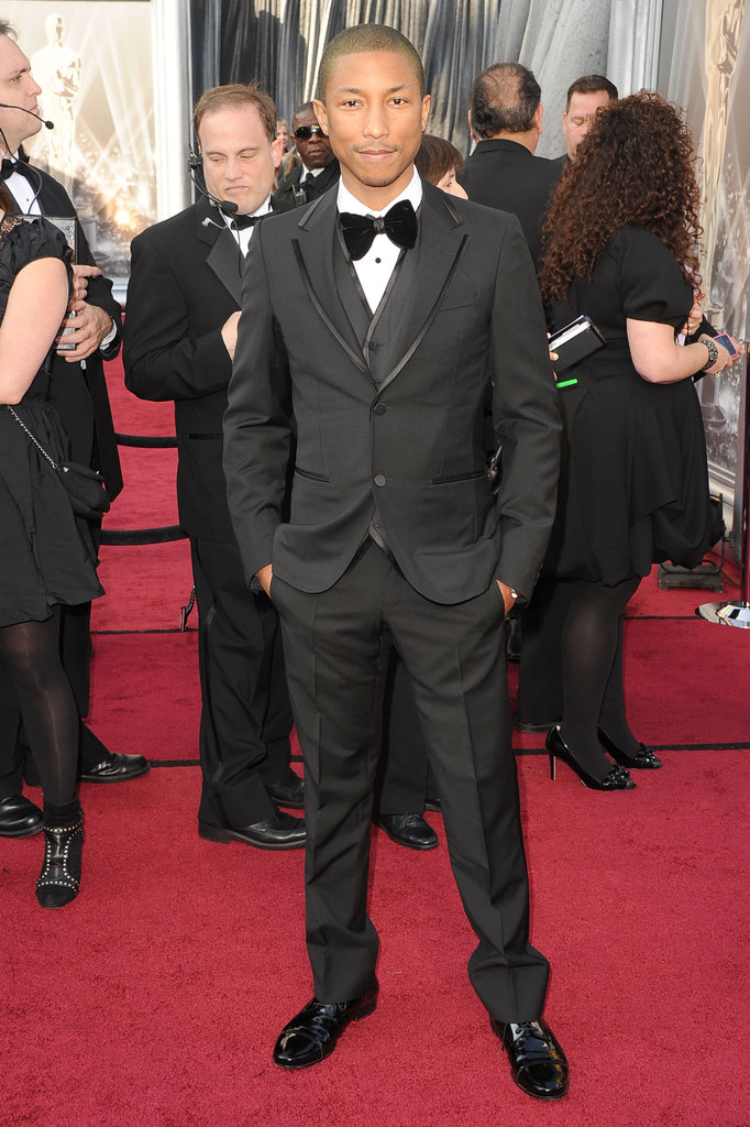 Pharrell Williams was dapper in a black tuxedo and bow tie.
