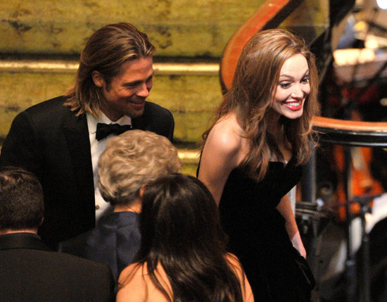 Angelina looks thrilled to be getting the night started.