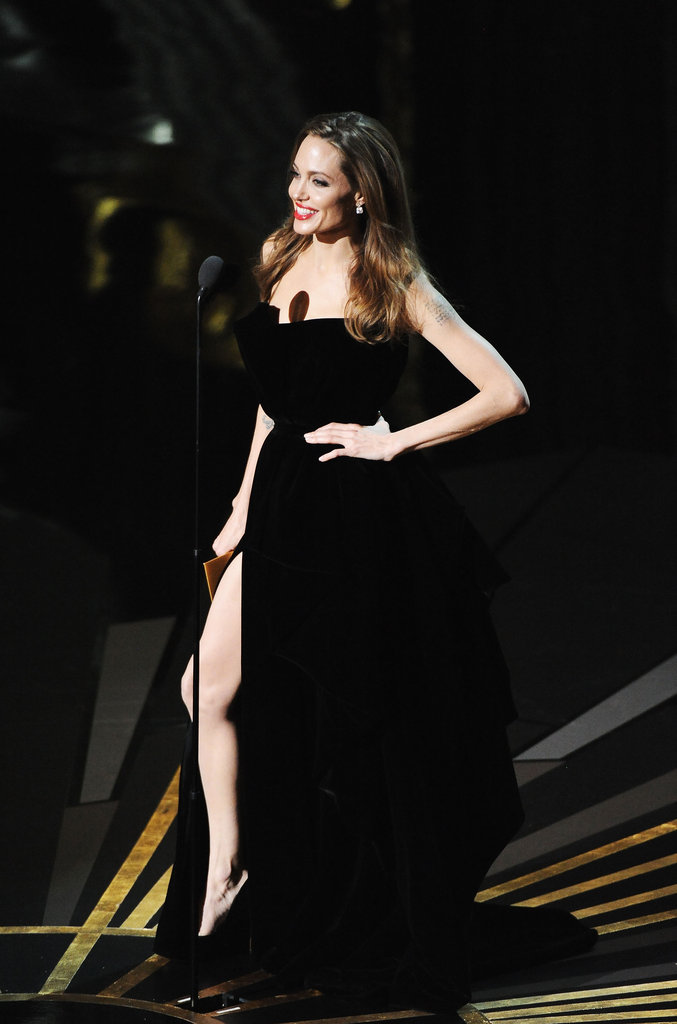 Angelina Jolie looked sexy onstage in a high slit.