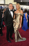 Stacy Keibler, in Marchesa, stood next to George Clooney.
