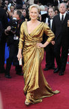 Meryl Streep glistened in a gold Lanvin gown.