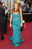Annie Mumolo wore a teal-colored Pamella Roland at the 2012 Oscars.